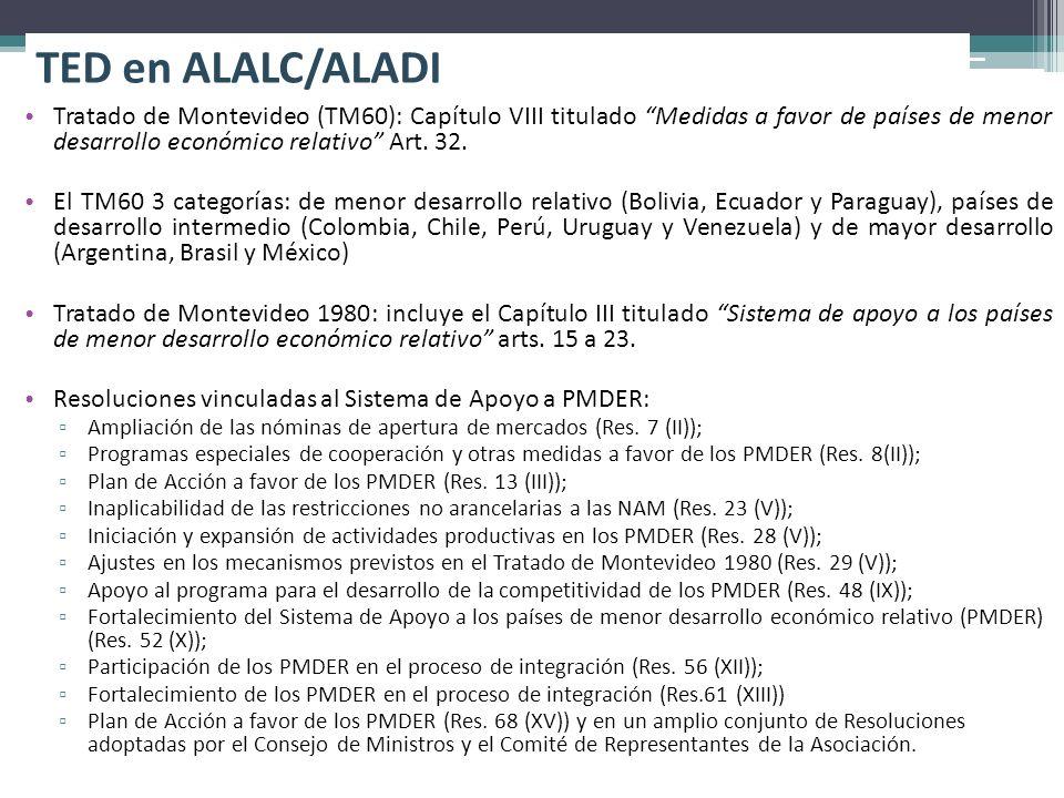 TED en ALALC/ALADI Tratado de Montevideo (TM60): Capítulo VIII titulado Medidas a favor de países de menor desarrollo económico relativo Art. 32. El T
