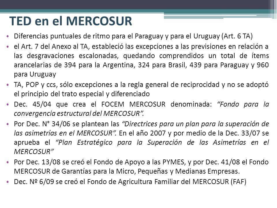 TED en el MERCOSUR Diferencias puntuales de ritmo para el Paraguay y para el Uruguay (Art. 6 TA) el Art. 7 del Anexo al TA, estableció las excepciones