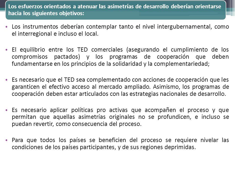 Los esfuerzos orientados a atenuar las asimetrías de desarrollo deberían orientarse hacia los siguientes objetivos: Los instrumentos deberían contempl