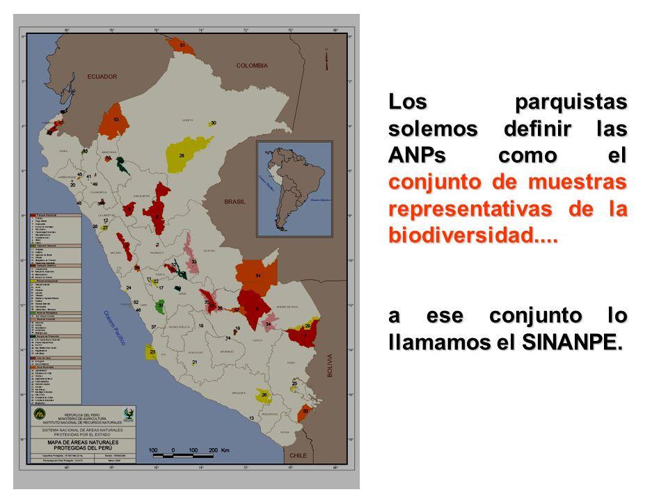 Los parquistas solemos definir las ANPs como el conjunto de muestras representativas de la biodiversidad.... a ese conjunto lo llamamos el SINANPE.