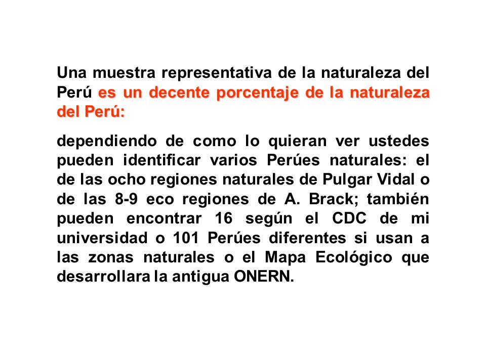 es un decente porcentaje de la naturaleza del Perú: Una muestra representativa de la naturaleza del Perú es un decente porcentaje de la naturaleza del