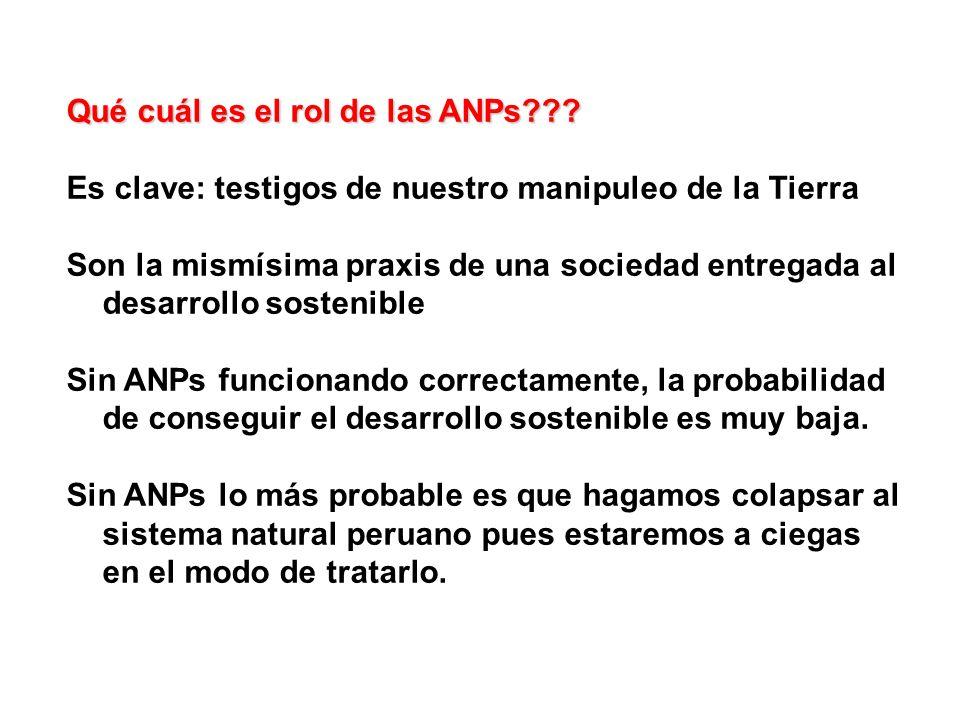 Qué cuál es el rol de las ANPs??? Es clave: testigos de nuestro manipuleo de la Tierra Son la mismísima praxis de una sociedad entregada al desarrollo