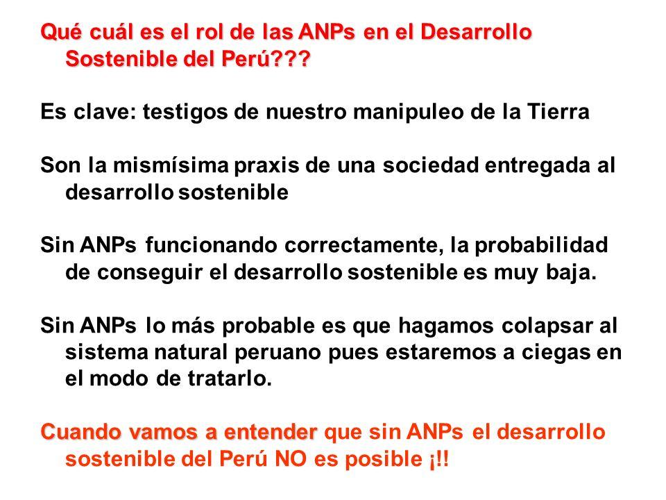 Qué cuál es el rol de las ANPs en el Desarrollo Sostenible del Perú??? Es clave: testigos de nuestro manipuleo de la Tierra Son la mismísima praxis de