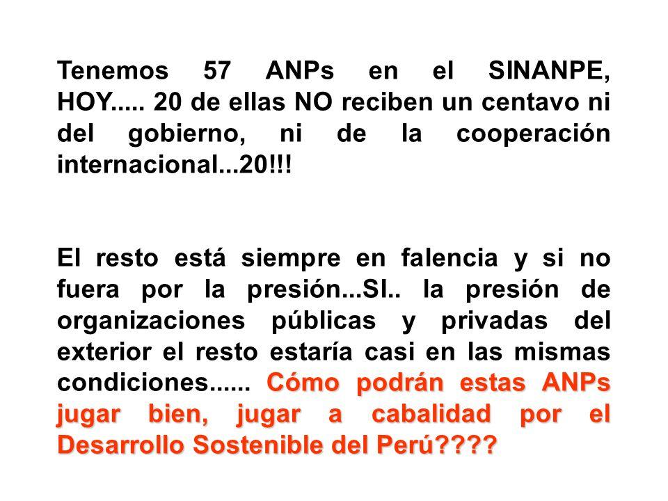 Tenemos 57 ANPs en el SINANPE, HOY..... 20 de ellas NO reciben un centavo ni del gobierno, ni de la cooperación internacional...20!!! Cómo podrán esta