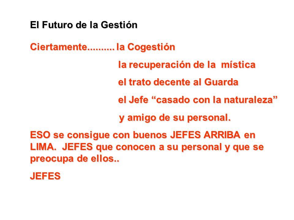 El Futuro de la Gestión Ciertamente.......... la Cogestión la recuperación de la mística el trato decente al Guarda el Jefe casado con la naturaleza y