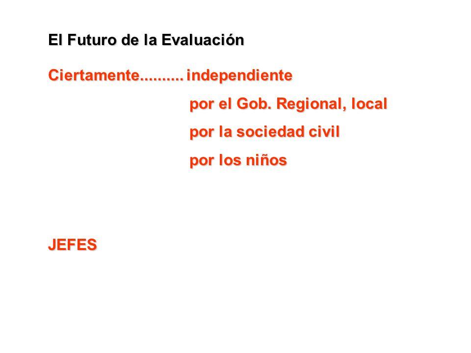 El Futuro de la Evaluación Ciertamente.......... independiente por el Gob. Regional, local por la sociedad civil por los niños JEFES
