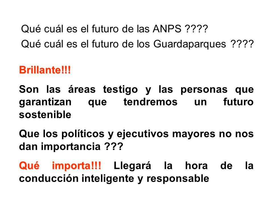 Qué cuál es el futuro de las ANPS ???? Qué cuál es el futuro de los Guardaparques ???? Brillante!!! Son las áreas testigo y las personas que garantiza