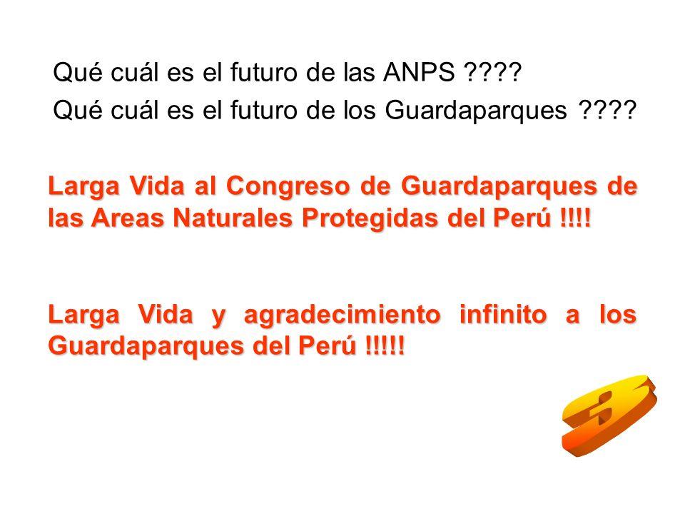Qué cuál es el futuro de las ANPS ???? Qué cuál es el futuro de los Guardaparques ???? Larga Vida al Congreso de Guardaparques de las Areas Naturales