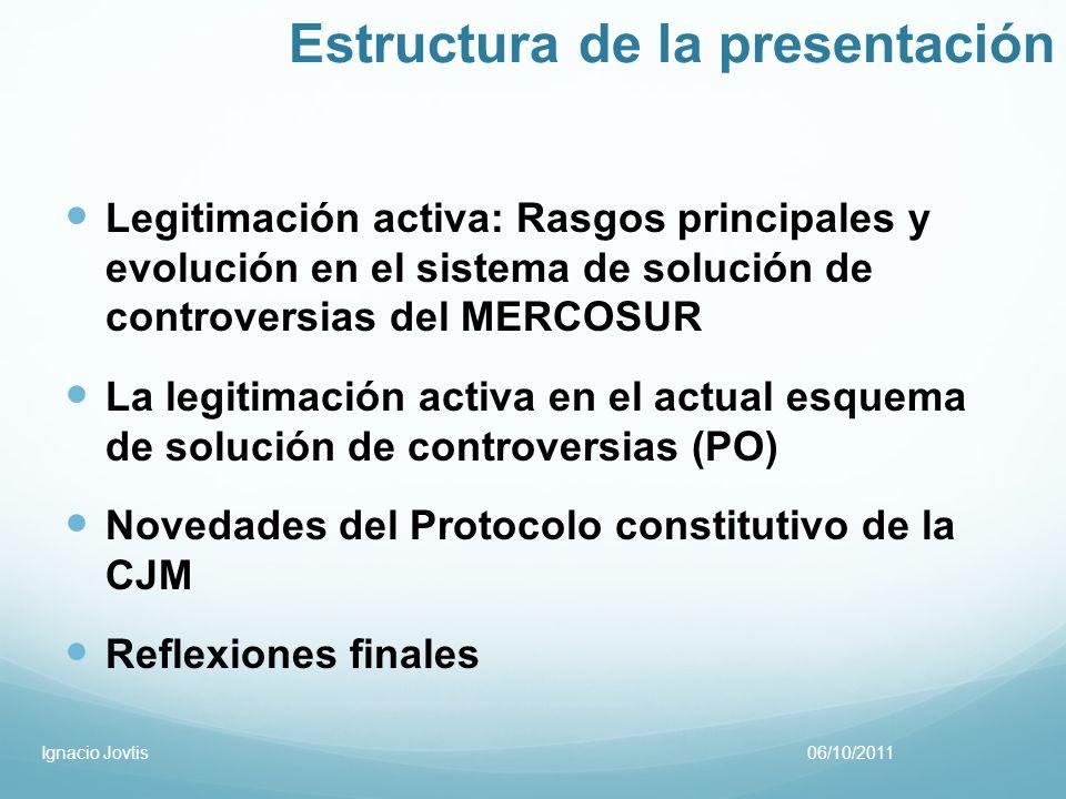 Estructura de la presentación Legitimación activa: Rasgos principales y evolución en el sistema de solución de controversias del MERCOSUR La legitimac