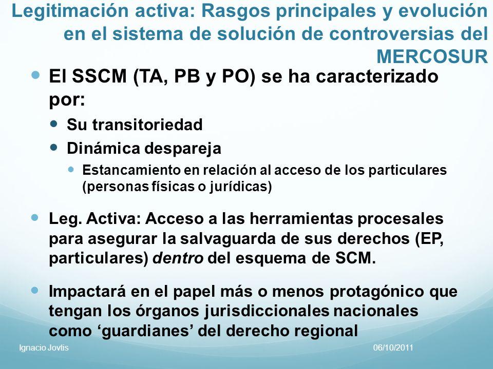 Legitimación activa: Rasgos principales y evolución en el sistema de solución de controversias del MERCOSUR El SSCM (TA, PB y PO) se ha caracterizado