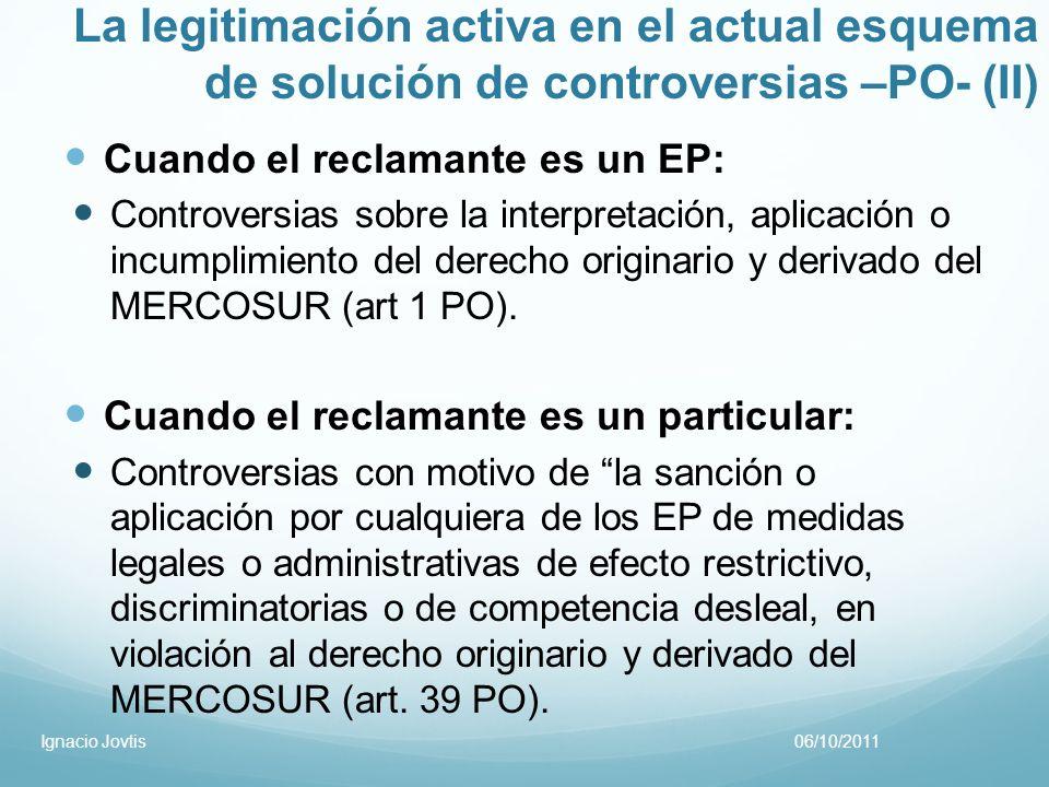 La legitimación activa en el actual esquema de solución de controversias –PO- (II) Cuando el reclamante es un EP: Controversias sobre la interpretació