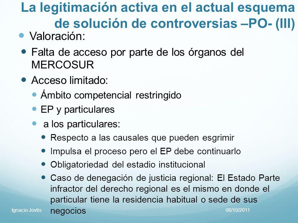 La legitimación activa en el actual esquema de solución de controversias –PO- (III) Valoración: Falta de acceso por parte de los órganos del MERCOSUR