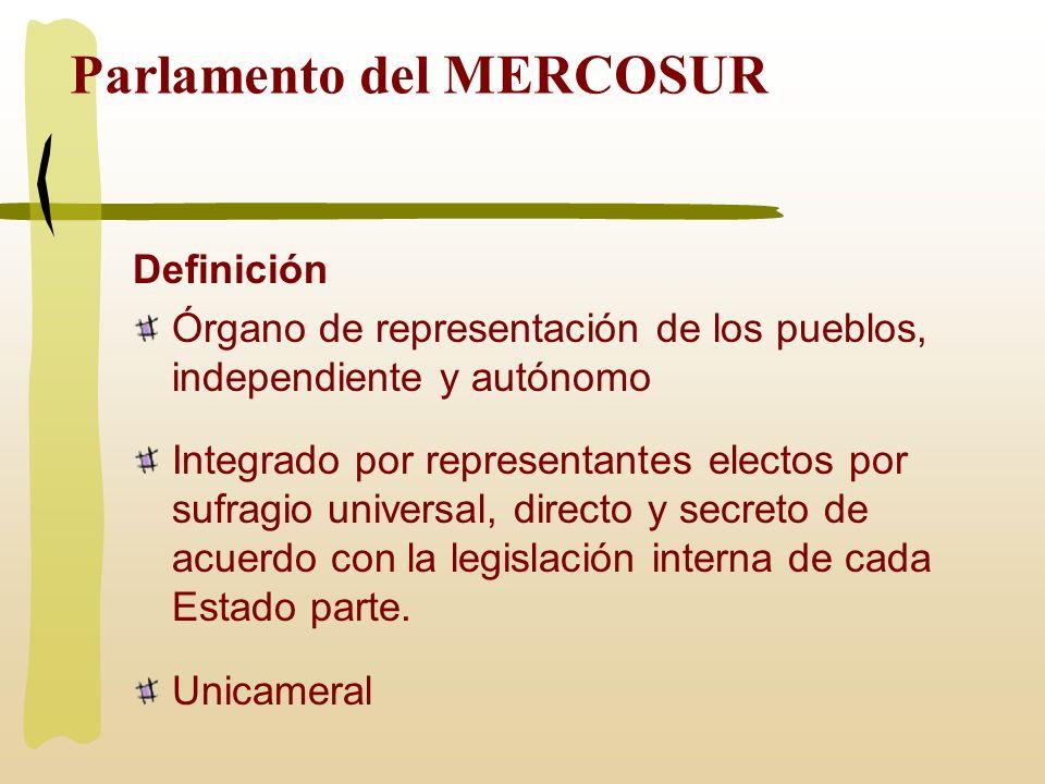 Parlamento del MERCOSUR Definición Órgano de representación de los pueblos, independiente y autónomo Integrado por representantes electos por sufragio