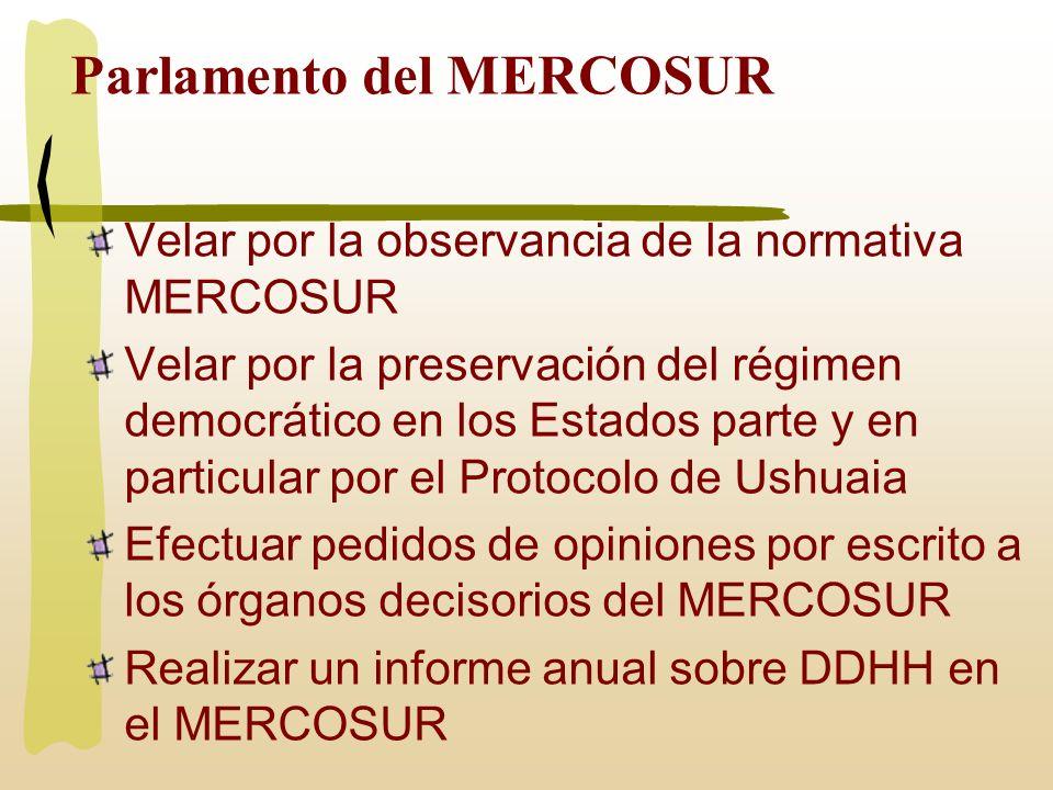 Parlamento del MERCOSUR Efectuar pedidos de opiniones por escrito a los órganos decisorios del MERCOSUR Realizar reuniones semestrales con el Foro Consultivo Económico y Social Emitir declaraciones, recomendaciones e informes sobre el proceso de integración MERCOSUR