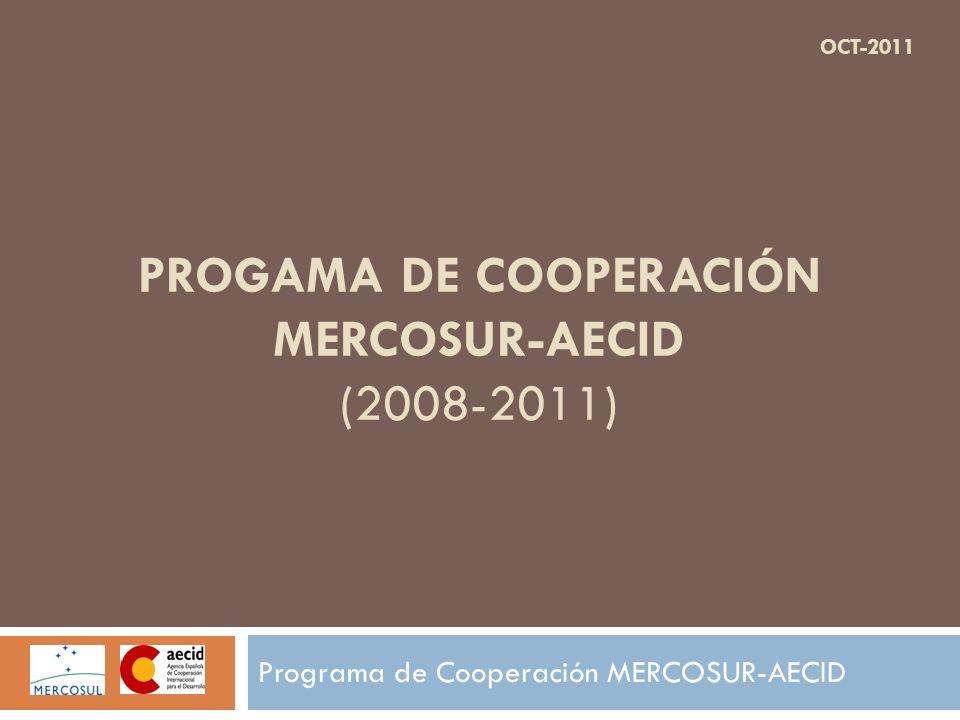 PROGAMA DE COOPERACIÓN MERCOSUR-AECID (2008-2011) Programa de Cooperación MERCOSUR-AECID OCT-2011