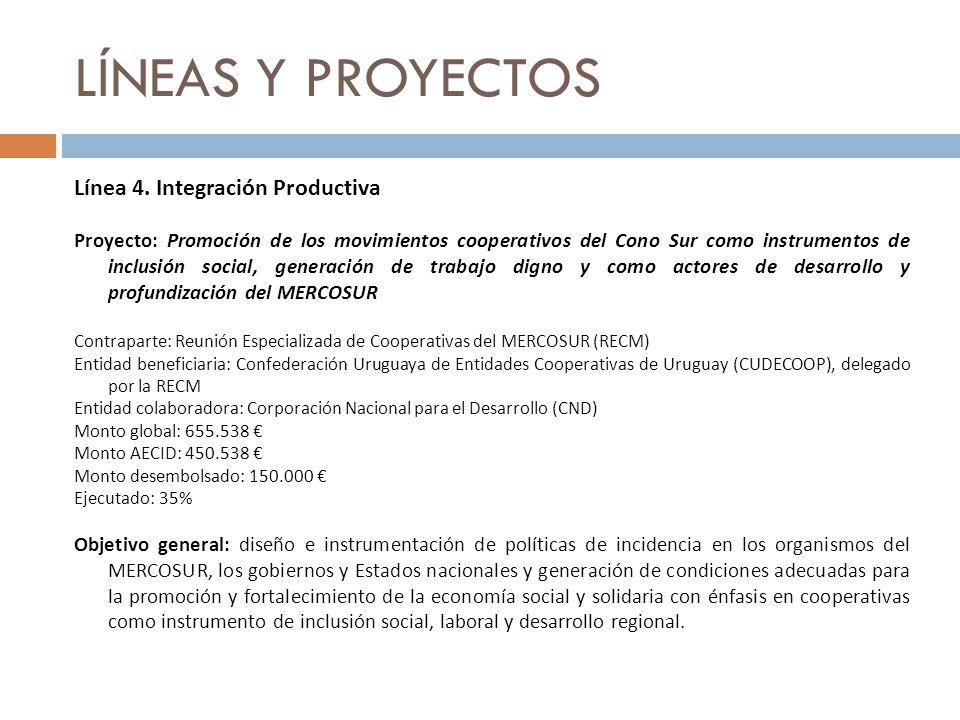LÍNEAS Y PROYECTOS Línea 4. Integración Productiva Proyecto: Promoción de los movimientos cooperativos del Cono Sur como instrumentos de inclusión soc
