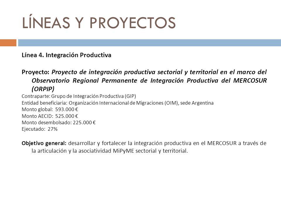 LÍNEAS Y PROYECTOS Línea 4. Integración Productiva Proyecto: Proyecto de integración productiva sectorial y territorial en el marco del Observatorio R