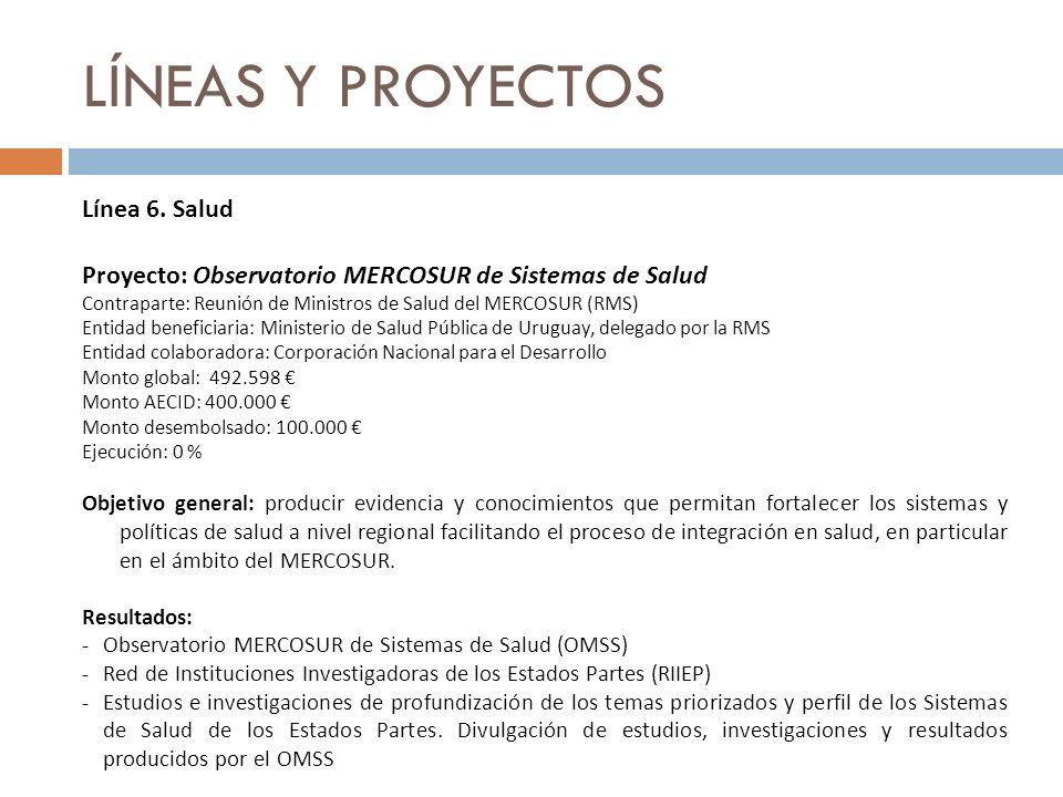 LÍNEAS Y PROYECTOS Línea 6. Salud Proyecto: Observatorio MERCOSUR de Sistemas de Salud Contraparte: Reunión de Ministros de Salud del MERCOSUR (RMS) E