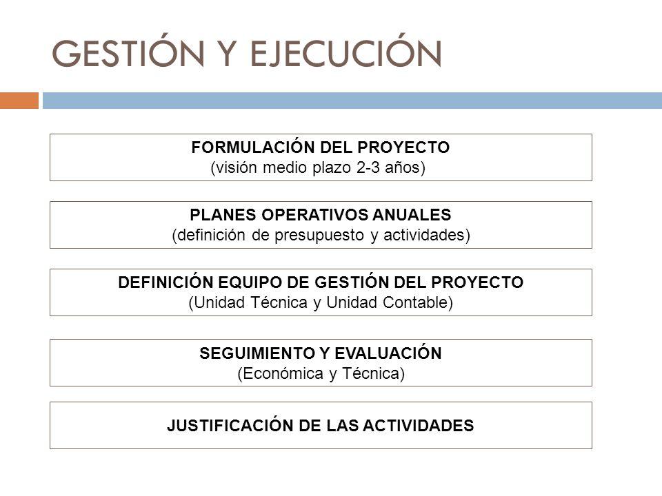 GESTIÓN Y EJECUCIÓN FORMULACIÓN DEL PROYECTO (visión medio plazo 2-3 años) JUSTIFICACIÓN DE LAS ACTIVIDADES PLANES OPERATIVOS ANUALES (definición de p