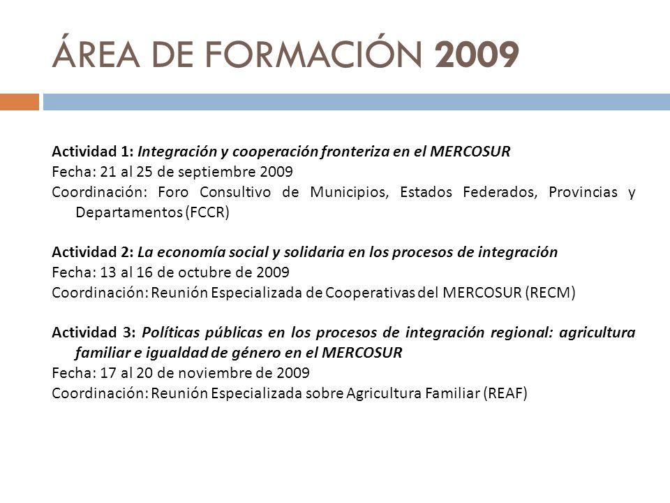 ÁREA DE FORMACIÓN 2009 Actividad 1: Integración y cooperación fronteriza en el MERCOSUR Fecha: 21 al 25 de septiembre 2009 Coordinación: Foro Consulti