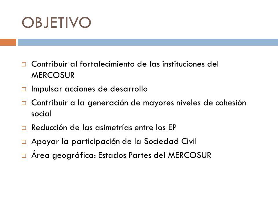 OBJETIVO Contribuir al fortalecimiento de las instituciones del MERCOSUR Impulsar acciones de desarrollo Contribuir a la generación de mayores niveles