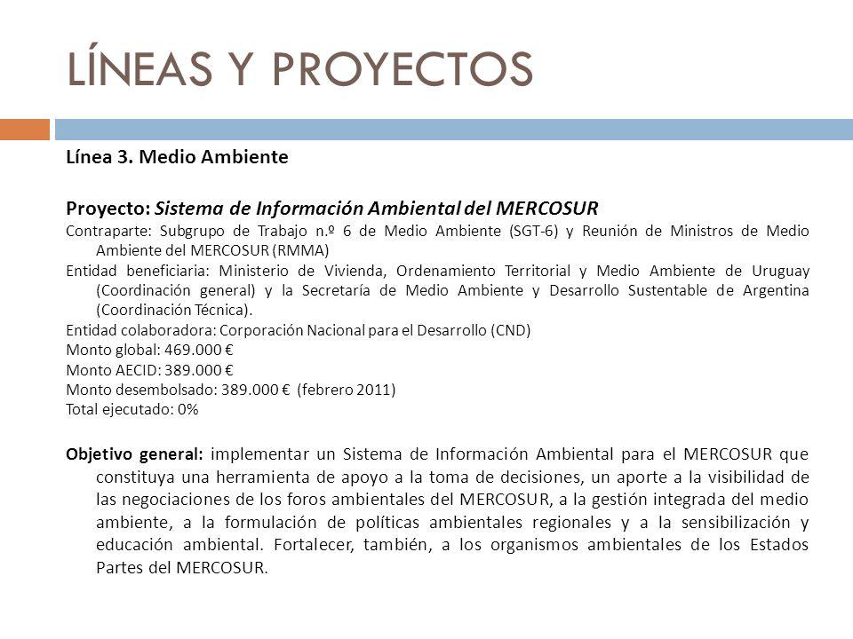 LÍNEAS Y PROYECTOS Línea 3. Medio Ambiente Proyecto: Sistema de Información Ambiental del MERCOSUR Contraparte: Subgrupo de Trabajo n.º 6 de Medio Amb
