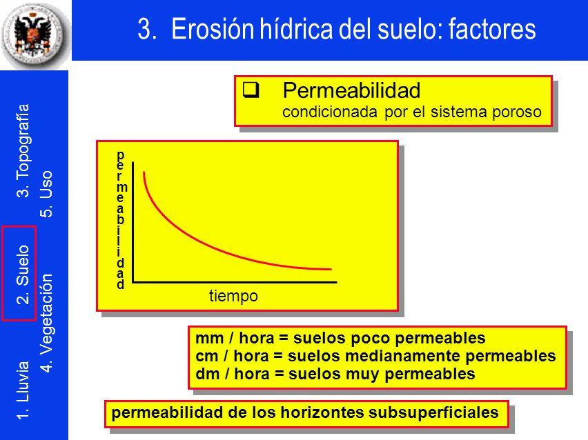 3. Erosión hídrica del suelo: factores 1. Lluvia 2. Suelo 3. Topografía 4. Vegetación 5. Uso Permeabilidad condicionada por el sistema poroso Permeabi