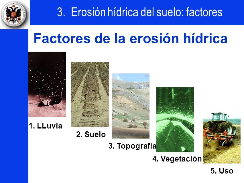 3. Erosión hídrica del suelo: factores 1. Lluvia 2. Suelo 3. Topografía 4. Vegetación 5. Uso Factores de la erosión hídrica 1. LLuvia 2. Suelo 3. Topo