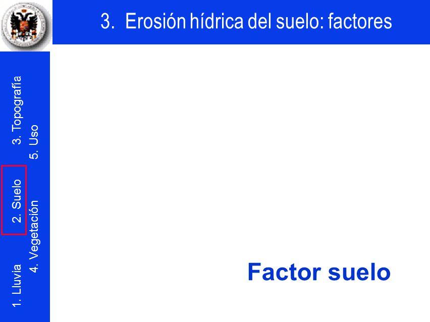 3. Erosión hídrica del suelo: factores 1. Lluvia 2. Suelo 3. Topografía 4. Vegetación 5. Uso Factor suelo