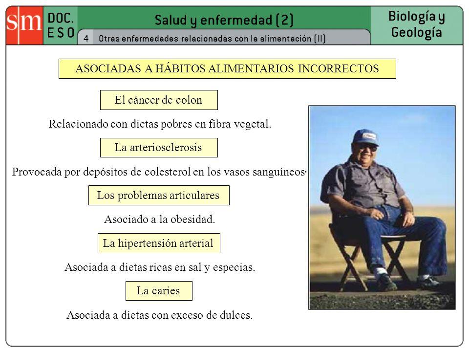 Salud y enfermedad (2) DOC. E S O Biología y Geología 4Otras enfermedades relacionadas con la alimentación (II) ASOCIADAS A HÁBITOS ALIMENTARIOS INCOR