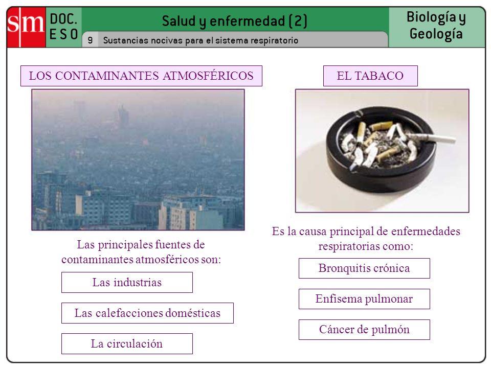 Salud y enfermedad (2) DOC. E S O Biología y Geología 9Sustancias nocivas para el sistema respiratorio EL TABACOLOS CONTAMINANTES ATMOSFÉRICOS Es la c
