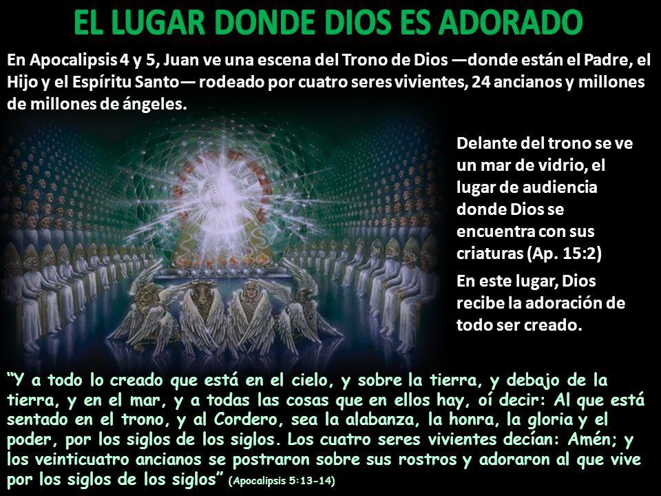En Apocalipsis 4 y 5, Juan ve una escena del Trono de Dios donde están el Padre, el Hijo y el Espíritu Santo rodeado por cuatro seres vivientes, 24 an