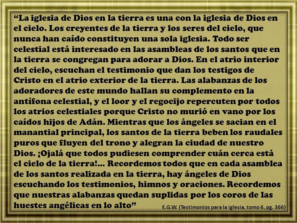 La iglesia de Dios en la tierra es una con la iglesia de Dios en el cielo. Los creyentes de la tierra y los seres del cielo, que nunca han caído const