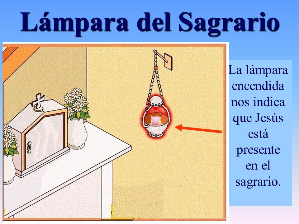 La lámpara encendida nos indica que Jesús está presente en el sagrario. Lámpara del Sagrario