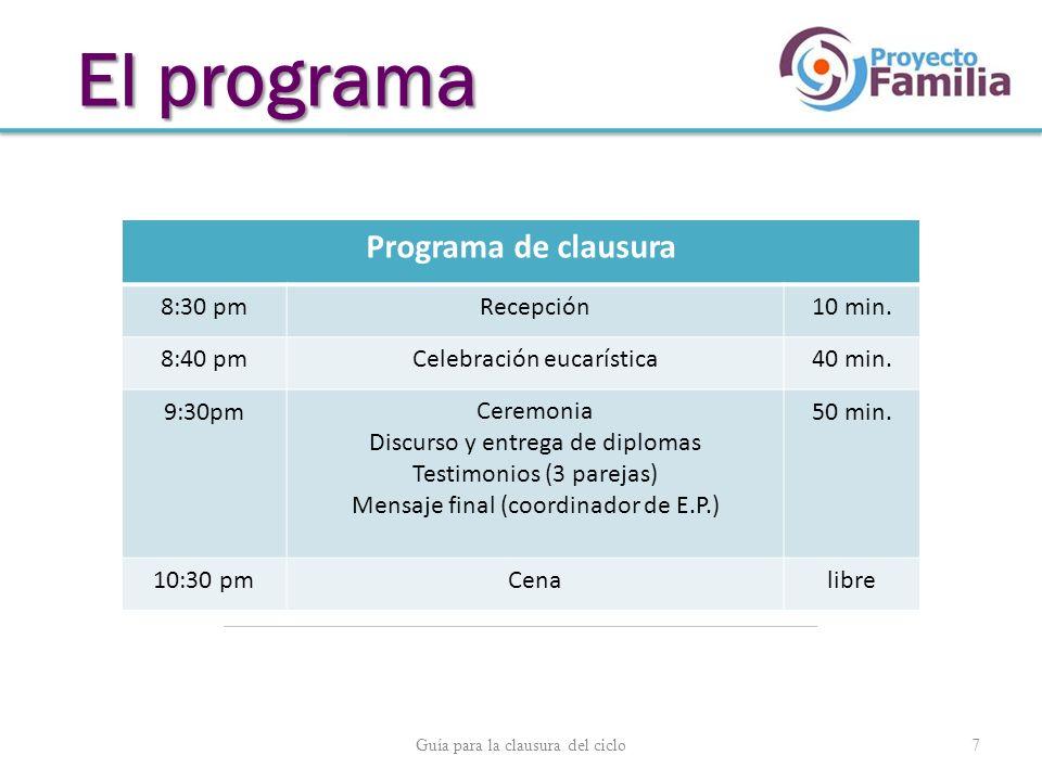 Guía para la clausura del ciclo 7 El programa Programa de clausura 8:30 pmRecepción10 min. 8:40 pmCelebración eucarística40 min. 9:30pmCeremonia Discu
