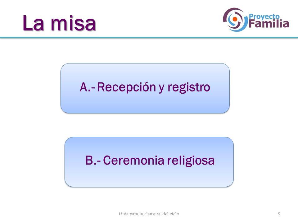 Guía para la clausura del ciclo 9 A.- Recepción y registro B.- Ceremonia religiosa La misa