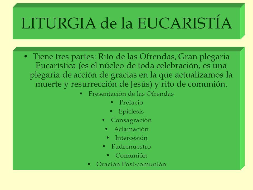 LITURGIA de la EUCARISTÍA Tiene tres partes: Rito de las Ofrendas, Gran plegaria Eucarística (es el núcleo de toda celebración, es una plegaria de acc