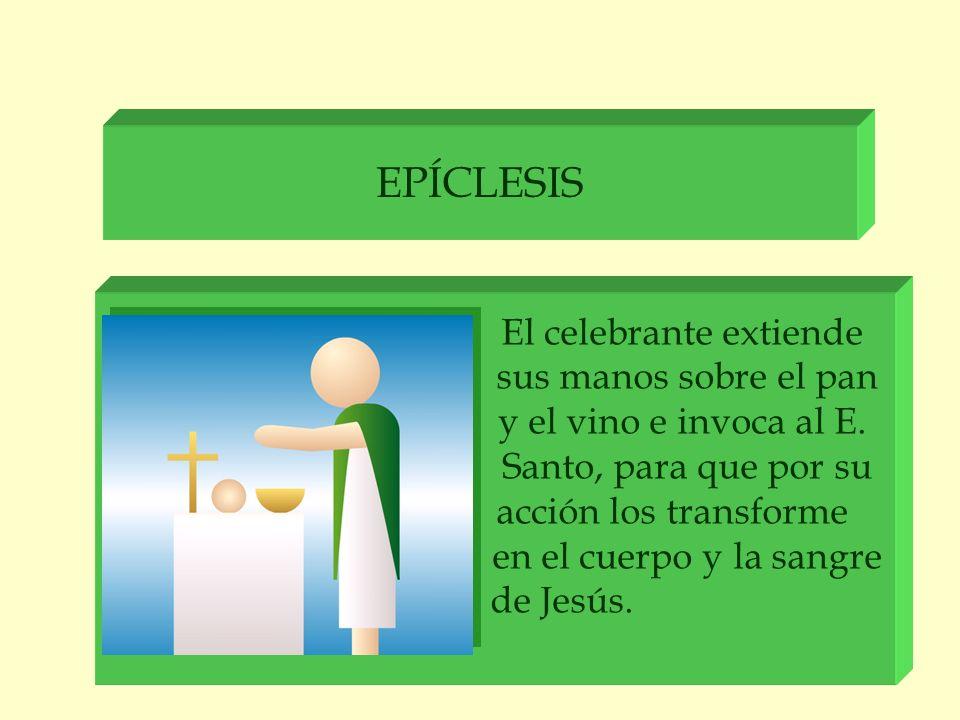 EPÍCLESIS El celebrante extiende sus manos sobre el pan y el vino e invoca al E. Santo, para que por su acción los transforme en el cuerpo y la sangre