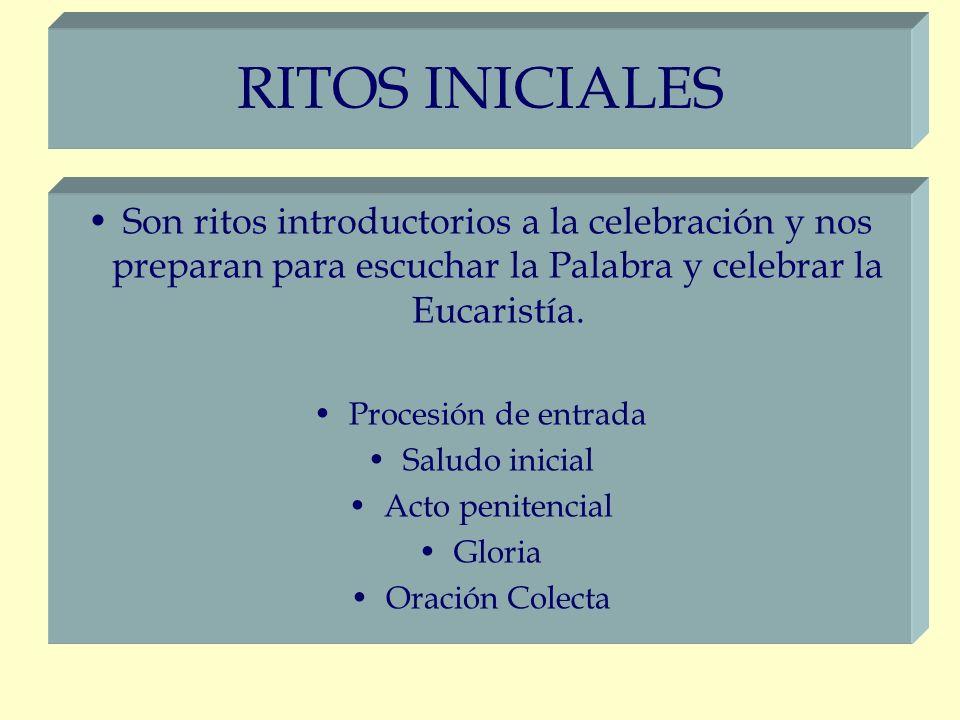 RITOS INICIALES Son ritos introductorios a la celebración y nos preparan para escuchar la Palabra y celebrar la Eucaristía. Procesión de entrada Salud