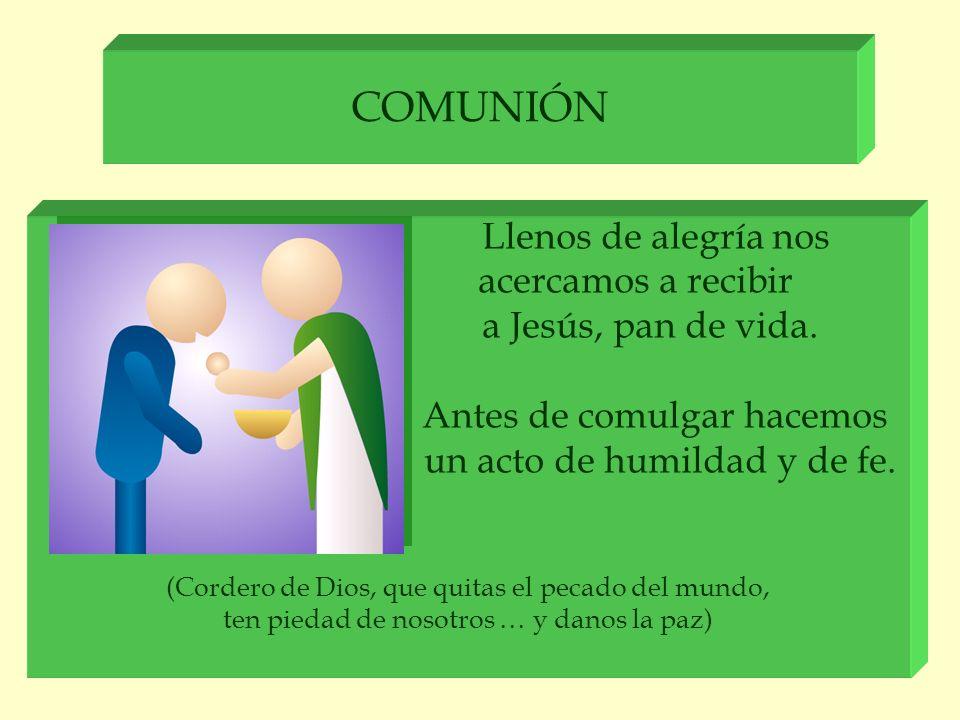 COMUNIÓN Llenos de alegría nos acercamos a recibir a Jesús, pan de vida. Antes de comulgar hacemos un acto de humildad y de fe. (Cordero de Dios, que