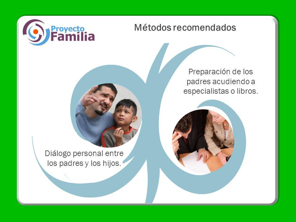 Diálogo personal entre los padres y los hijos. Métodos recomendados Preparación de los padres acudiendo a especialistas o libros.