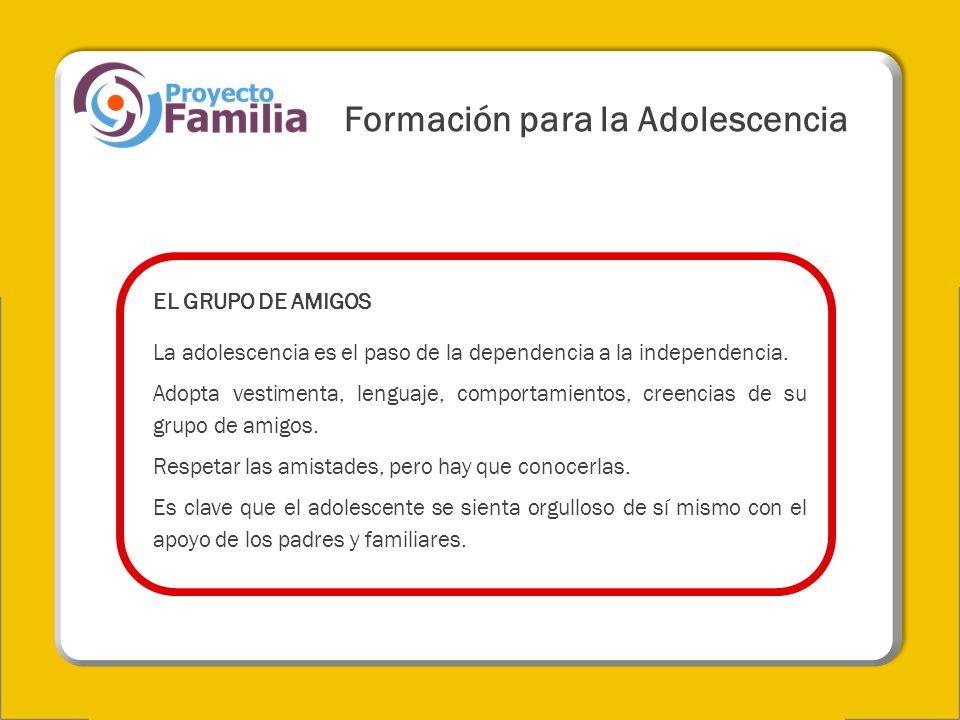 EL GRUPO DE AMIGOS La adolescencia es el paso de la dependencia a la independencia. Adopta vestimenta, lenguaje, comportamientos, creencias de su grup
