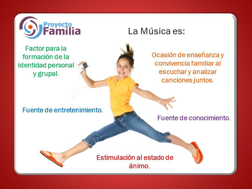 La Música es: Fuente de entretenimiento. Estimulación al estado de ánimo. Factor para la formación de la identidad personal y grupal. Ocasión de enseñ