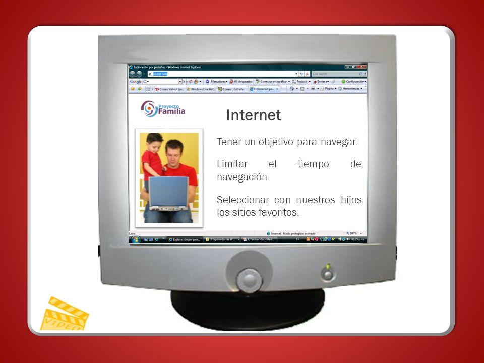 Tener un objetivo para navegar. Limitar el tiempo de navegación. Seleccionar con nuestros hijos los sitios favoritos. Internet