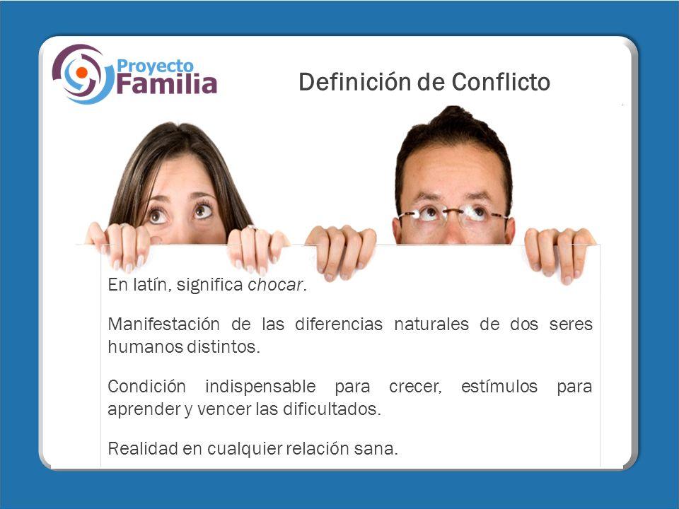 Definición de Conflicto En latín, significa chocar. Manifestación de las diferencias naturales de dos seres humanos distintos. Condición indispensable