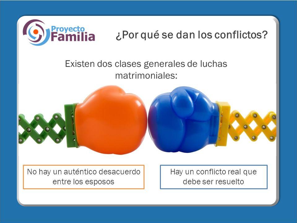 ¿Por qué se dan los conflictos? Existen dos clases generales de luchas matrimoniales: Hay un conflicto real que debe ser resuelto No hay un auténtico