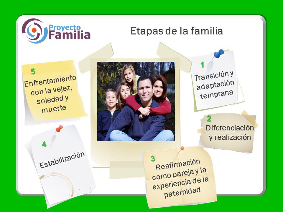 Etapas de la familia Transición y adaptación temprana Diferenciación y realización Enfrentamiento con la vejez, soledad y muerte Estabilización Reafir