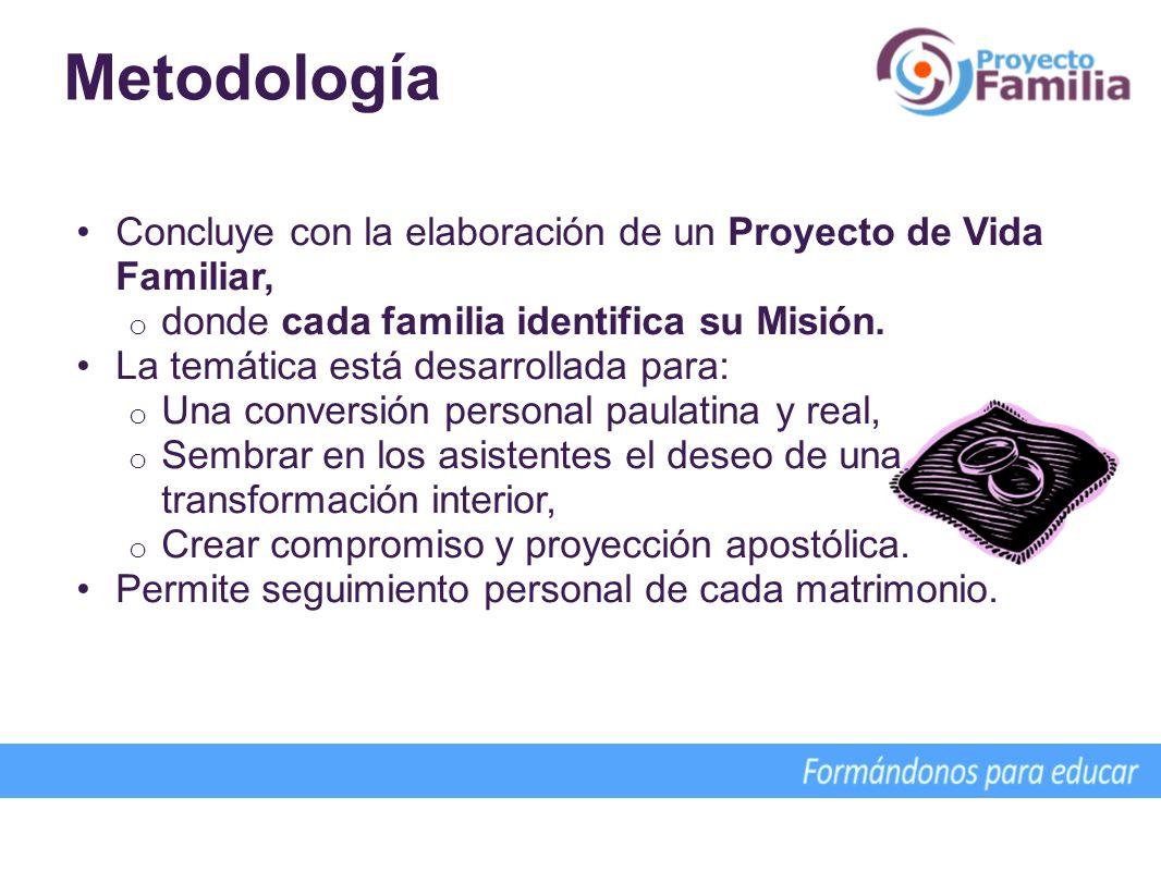 Concluye con la elaboración de un Proyecto de Vida Familiar, o donde cada familia identifica su Misión. La temática está desarrollada para: o Una conv