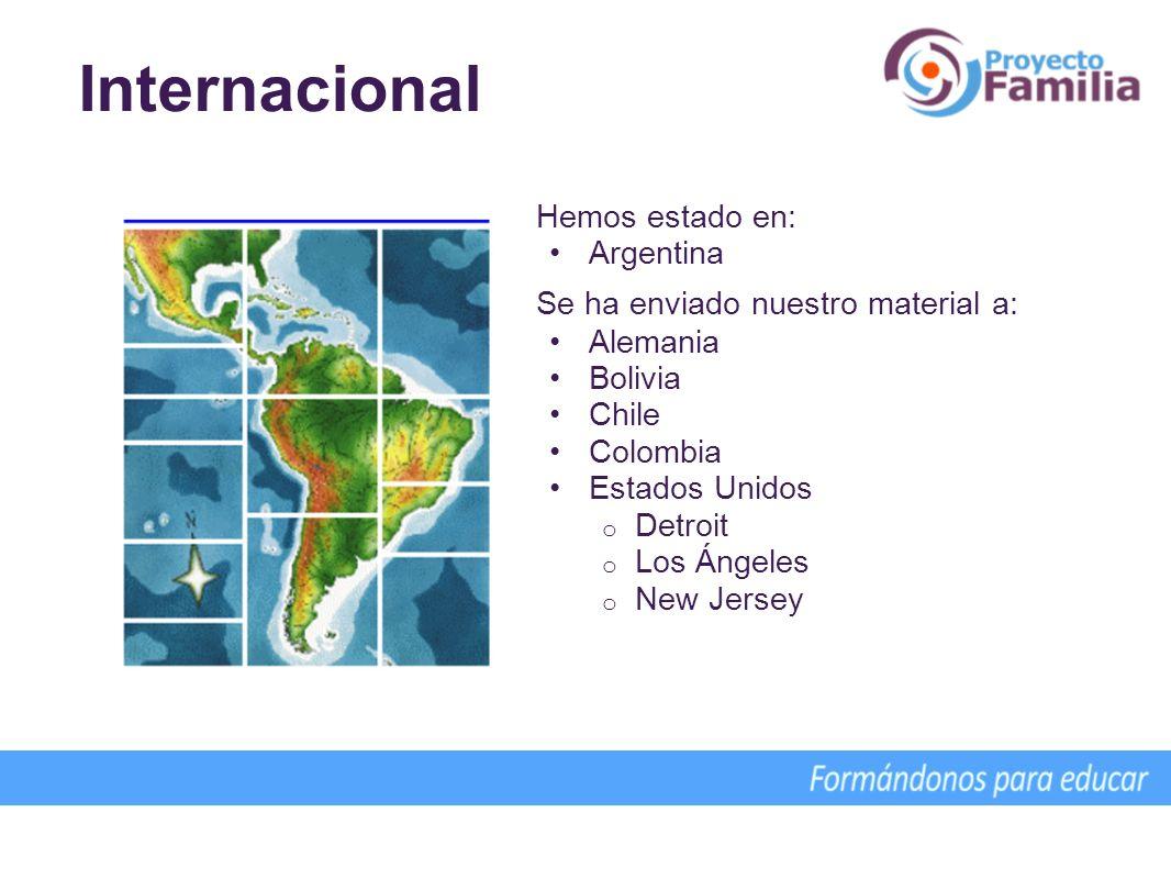 Internacional Hemos estado en: Argentina Se ha enviado nuestro material a: Alemania Bolivia Chile Colombia Estados Unidos o Detroit o Los Ángeles o Ne