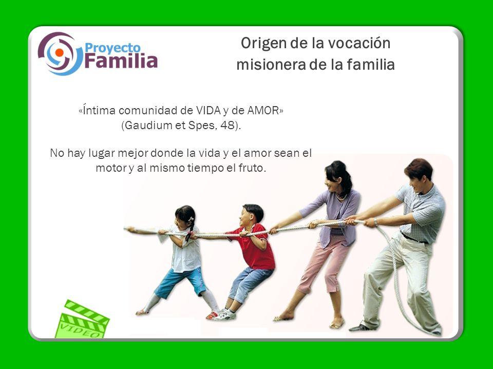 Origen de la vocación misionera de la familia «Íntima comunidad de VIDA y de AMOR» (Gaudium et Spes, 48). No hay lugar mejor donde la vida y el amor s